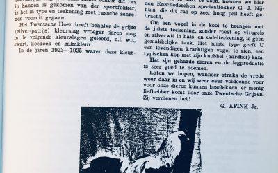 Historische berichten over het Twents Hoen uit het archief van de Twentsche Pluimveeclub